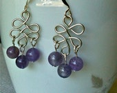 Celtic wire earrings with amethyst beads