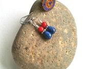 Crimson and blue earrings