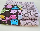 Baby Blanket, Light Pink Minky and Urban Zoologie Kitties for a Baby Girl - Ready to Ship
