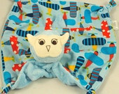 Security Blanket - Lovies for Babies, Baby Blue Minky Owl with Airplanes for a  Baby Boy