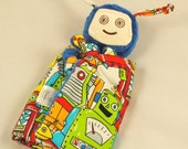 Robot Lovey Blanket, Soft Baby Toy, Blue Minky Robot Blankie for a Baby Boy