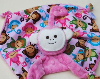 Small Baby Blanket, Embroidered Lovey, Monkey Security Blanket, Monkey Toy, Urban Zoology, Baby Girl, Pink Monky, Stuffed Animal Blanket