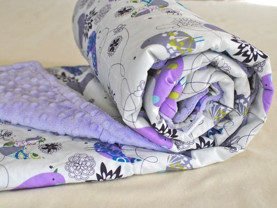 Toddler Sized Quilted Blanket in Lavender Minky with Starlings in Blue - Ready to Ship