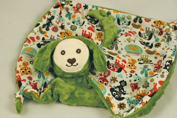 Doggy Blanket Doll, Lovey for a Baby Boy, Olive Minky Doggy Toy with Max and Whiskers