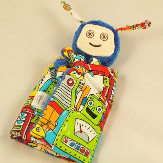 Robot Lovey Blanket Soft Baby Toy Blue Minky Robot Blankie