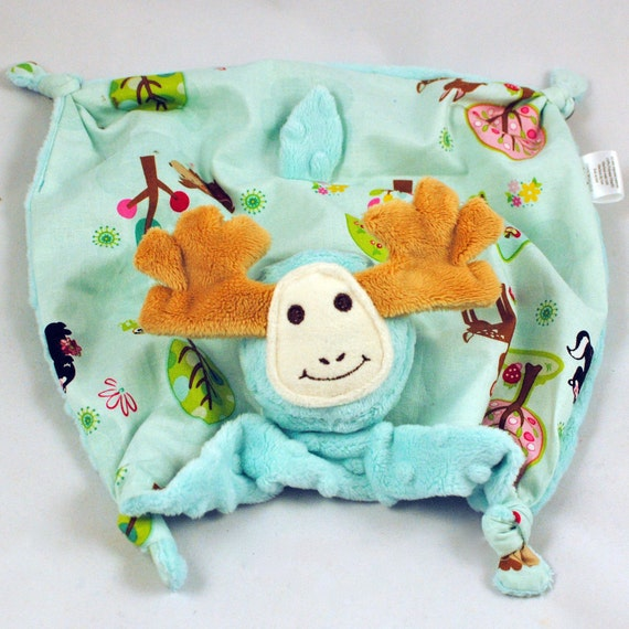 Baby Blanket, Security Blanket, Baby Toy, Turquoise Minky Moose with Hoos in the Forest