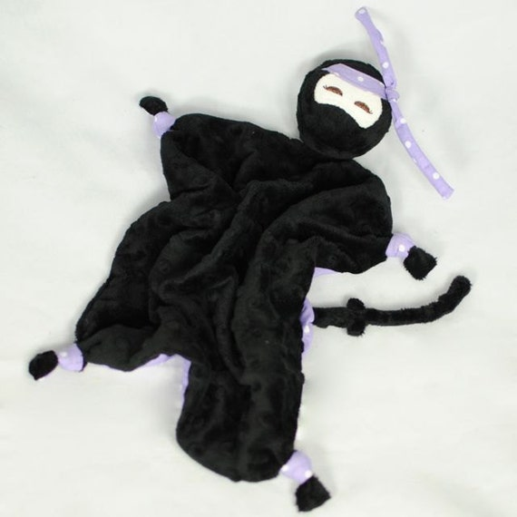"""Custom Listing for Amber, 18""""x18"""" Lovey, Black Minky Ninja with Purple Flowers, Toy for Girls"""