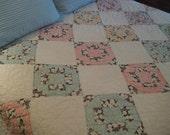 Vintage Spring Bedspread - Vintage Block Quilt - Spring Coverlet - Robins Egg Blue - Sunny Yellow