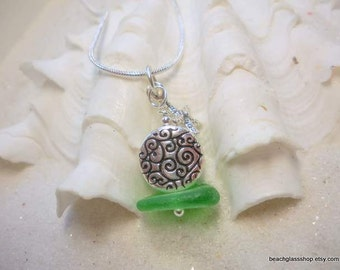 Sterling Sea Glass Necklace - Sea Glass -  Beach Glass -  Necklace -  Lake Erie - Cleveland