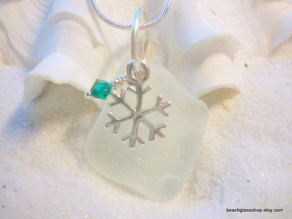 Sea Glass Christmas Necklace Snowflake Beach Glass