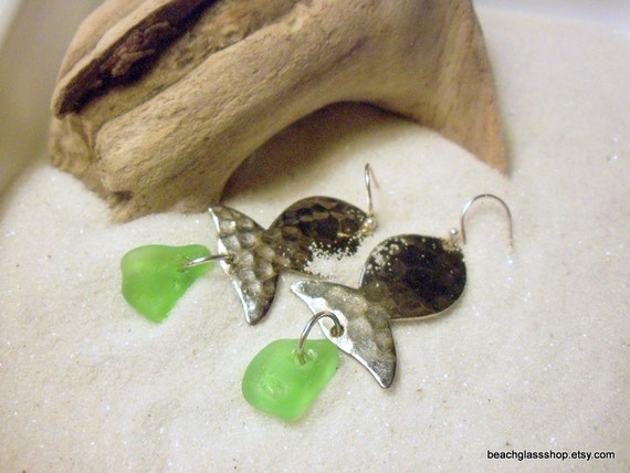 Sea Glass Beach Glass  Lime Green Fish Charm Earrings