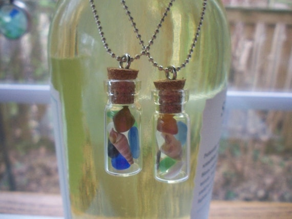 Wine Bottle Necklaces Two In Set Glass Vial FREE SHIPPING