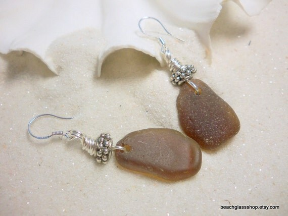 Sea Glass Bottle Brown Dangle Earrings