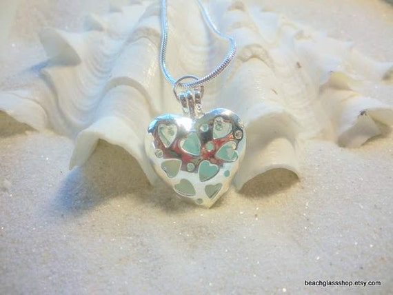 Sea Glass Locket Necklace Pale Blue Frosted White Seaglass