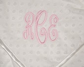 Monogrammed Baby Blanket Soft Minky Dot Fabric with Satin Trim Photo Prop Blanket Personalized Baby Blanket