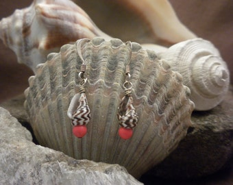 seashell earrings with coral coloured bead