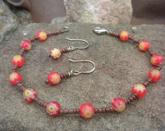 3pc. set: bracelet and earrings
