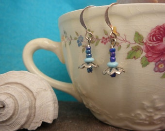 fairy flower earrings in blue