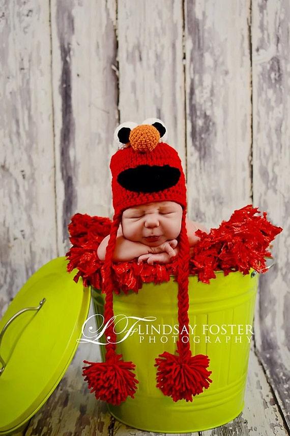 Crochet Elmo Hat Sesame Street Inspired