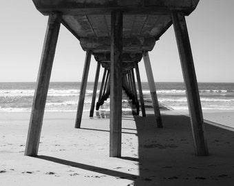 "Hermosa Beach Pier Black and White 16x20"" Photograph"