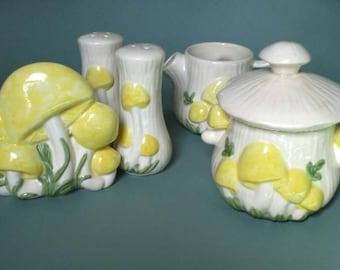 Vintage Retro Kitchen Set  5 Piece Ceramic Magic Mushroom Salt Pepper Cream Sugar and Napkin Holder