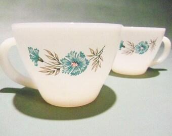Vintage Fire King Floral Tea Cups or Mugs set of 9