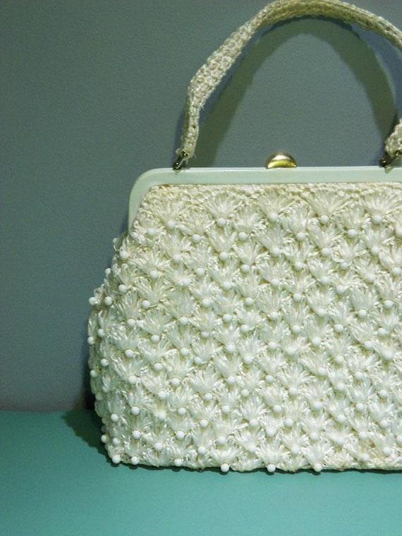 Vintage Purse Clutch Mod White Beaded Audrey Hepburn