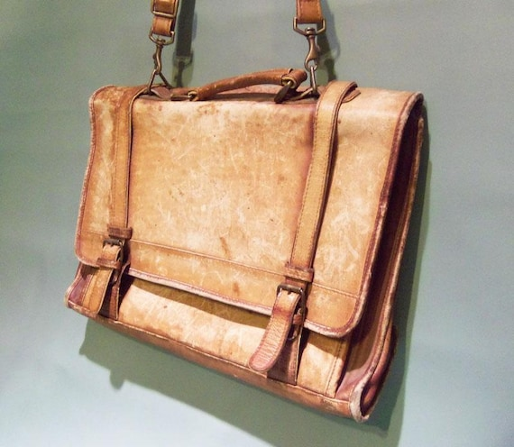 Vintage Distressed Leather Brief Case