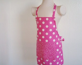 Childrens Apron - Pink Powerful Polka Dot Retro Kids Apron! A vibrant color....sweet apron, great for cooking and creating fun