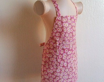 Childrens Apron -  Pretty Pink Daisy Apron - Great for cooking, baking, or arts and crafts, a sweet vibrant flower print