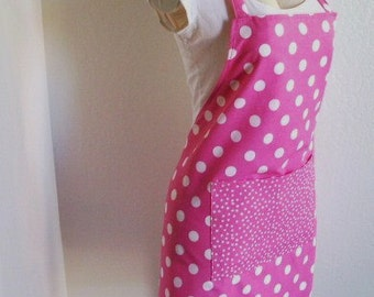 Bib Apron - Pink Powerful Polka Dots- Lots of Fun Bold dots, great for cooking, baking or creating arts and craft, cute for entertaining