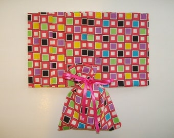 Gift/Party Cloth Bags (6) Gift or party bags covered with colorful fun squares, a two in one gift, fun for gift giving, cloth bags, gift bag