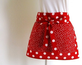 Half Apron - Red and White Polka Dots Hostess or Vendor Half Apron, Great for cooking or gardening too, a fun apron to entertain in