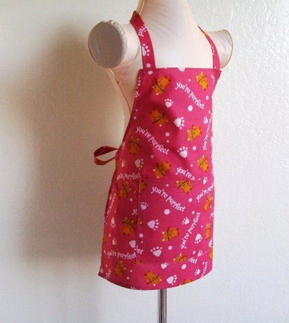 Childrens Apron - Kitty Cats on Pink Kids Apron