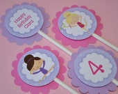Girls Birthday Cupcake Toppers - Gymnastic Cupcake Toppers - Gymnastics, Tumbling Birthday Party Decorations - Set of 12