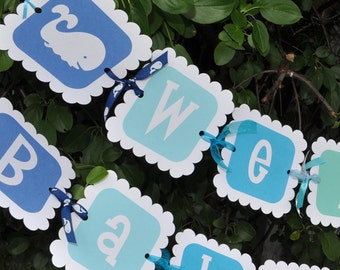 Whale Baby Shower Banner - Boy Baby Shower Banner - Whale, Nautical Baby Shower Decorations - Personalized Baby Shower Banner