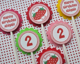 Strawberry Birthday Cupcake Toppers - Berry Sweet Strawberry Birthday Party - Personalized Birthday Decorations - Set of 12