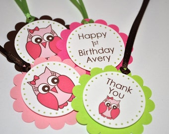 12 Birthday Favor Tags - Owl Girls 1st Birthday Party Decorations