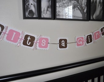 Elephant Baby Shower Banner - Baby Shower Decorations - It's a Girl -  Elephant Theme Pink and Brown