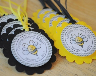 12 Baby Shower Favor Tags - Bumble Bee Baby Shower - Mommy To Bee - Baby Shower Decorations