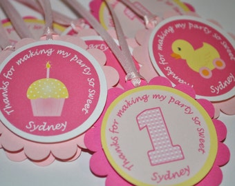 12 Girl's 1st Birthday Party Favor Tags - Cupcake/Rubber Ducky Theme - Pink and Yellow - Personalized