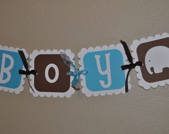 Elephant Baby Shower Banner - It's a Boy Banner - Boy Baby Shower Decorations - Baby Shower Banner