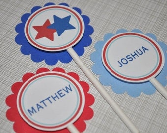 12 Boys Birthday or Baby Shower Cupcake Toppers - Sports All Star Theme - Red, White and Blue