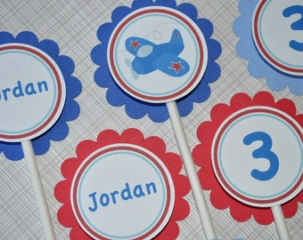 12 Cupcake Toppers Boys Birthday Airplane Theme