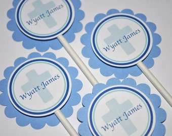 12 Cupcake Toppers Boys Baptism or First Communion Party Decorations