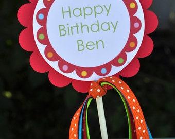 Birthday Cake Topper 1st Birthday - Bubblegum Birthday Party Decorations