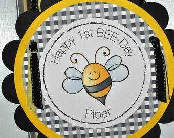 Bee Birthday Party Door Sign - Birthday or Baby Shower - Bumble Bee Theme - Happy BEE Day