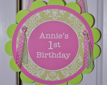 1st Birthday Party Door Sign, Party Sign, Welcome Sign, Baby Shower Welcome Sign, Party Decorations - Pink and Green