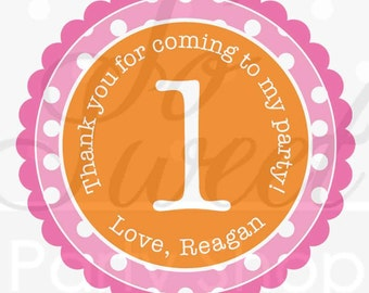 1st Birthday Favor Sticker Labels, Thank You Stickers, Birthday Favors, Girls 1st Birthday - Orange, Pink and White Polkadots - Set of 24