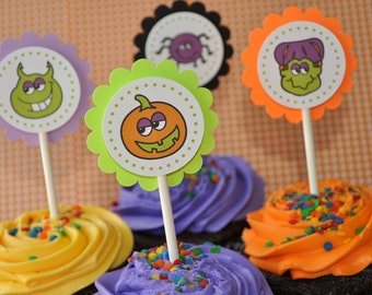 12 Halloween Cupcake Toppers - Halloween Party Decorations